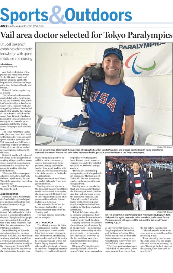 Vail area doctor selected for Tokyo Paralympics